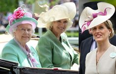 En el segundo día de las carreras en Ascot, la reina Isabel lució un sombrero verde con una rosa fucsia y Sophie Rhys-Jones, Condesa de Wessex, un tocado en color beige con detalles en beige y rosa