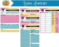 Travel Planner Printable Set Household Binder Inserts