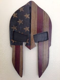 Reclaimed wood handpainted Spartan mask with by RuggedMooseDecor
