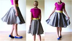 "Circle Skirt ""If you've ever made a poodle skirt before, it's the same concept. Your fabric is cut in a circle, like a donut. Then the elastic is sewn on top to create a waistband. The circle hangs right at your waist and allows the fabric to drape beautifully around you."""