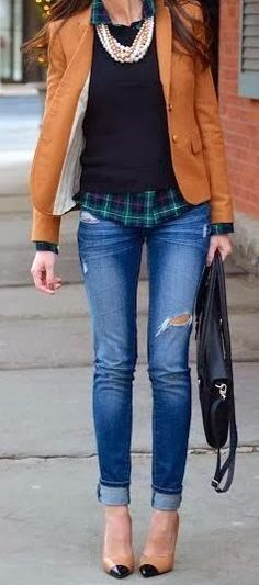 dressy prep for fall | pushing winter | blazer | pearls | ripped jeans | plaid | heels