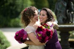 Late summer bouquets of dahlias and David Austins in jewel tones of purple, burgundy, hot pink and punches of lemon and tangerine by Wedding Pixies |  wwww.weddingpixies.com.au