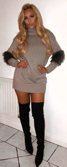 #winter #outfits gray sweater and pair of black thigh-high boots #kneehighbootsoutfit