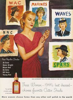 WWII advertisers found limitless product tie-ins with women in military service.