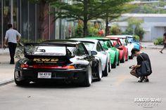 """RWB line up, aka """"you must be this w-i-d-e to get in line"""" #rwb #porsche"""