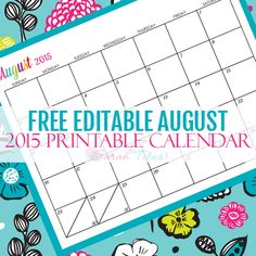 Great for menu planning, homeschooling, blogging, and organizing your life. Get your Free Blank Online Editable Calendar August 2015 here!