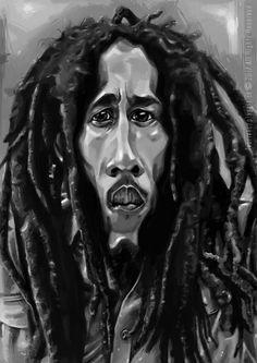 """""""Nezískaj si svet a nestrať svoju dušu, pretože múdrosť je lepšia ako striebro a zlato."""" Bob Marley -karikatúra A3, digitálna kresba"""