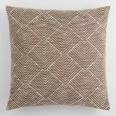 Ivory Geometric Angle Jacquard Throw Pillow by World Market – accent pillow diy Throw Cushions, Decorative Throw Pillows, Decor Pillows, Dark Brown Couch, Living Room Accessories, Cricut, 3d Texture, Family Room Decorating, Brown Pillows