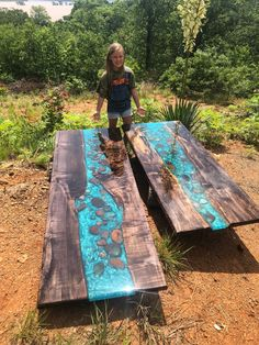 Weathered Maple River table dining live edge coffee table or countertops bartop - - Resin Wood Resin Furniture, Woodworking Furniture, Woodworking Projects, Live Edge Furniture, Diy Resin Wood Table, Epoxy Resin Table, Wood Table Design, Diy Resin Crafts, Diy Wood Projects