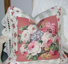 Vintage Barkcloth and Lace Fabric Pillow  Pink by MyFabricCottage, $75.00