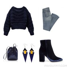 Shopping Items Including Sweater Blue Jeans Gianvito Rossi Ankle Booties And Navy Blue Handbag From October 2016 #outfit #look