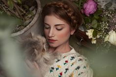 "Fashion editorial: ""Happiness can be measured with cats"" Photography ALBA SOLER Styling SILVIA SOLER Make-Up LUCE NINÚ Hair SILVIA DESCALZO Floral Arrangements CATALINA TERCERO #fashion #editorial #photography #concept #art"