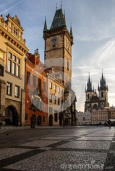 View old town square, town hall tower, Astronomical clock in Prague, Czech Republic.