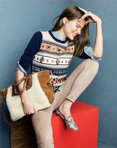 J.Crew jeweled Fair Isle stripe sweater, selvedge chambray shirt and the Collection suede and shearling satchel. I wore this last Friday while shopping...at J.Crew!