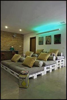 Pallets.. Could make a run rec room for kids