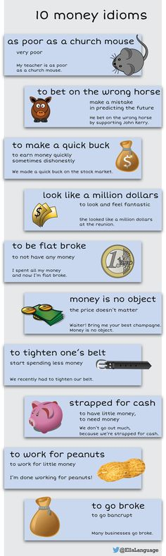 10 money idioms - Learn and improve your English language with our FREE Classes. Call Karen Luceti or email kluceti to register for classes. Eastern Shore of Maryland. English Vinglish, English Tips, English Idioms, English Writing, English Study, English Words, English Lessons, English Grammar, Learn English