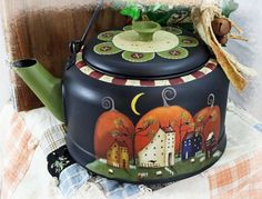 Hand Painted Primitive Vintage Tea Kettle - Shades of Fall - RESERVED FOR Josie