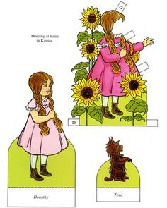 The Paper Collector: Wizard of Oz paper dolls by Ted Menten, Dorothy, Toto , Kansas, Funky Paperdolls, Printable Paper Doll Patterns, Paper Dolls, Paper, Kids Activities Printables, Cool teen crafts