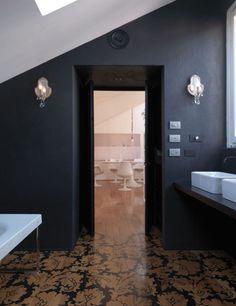 floor, black walls, light.  Feminine & modern.