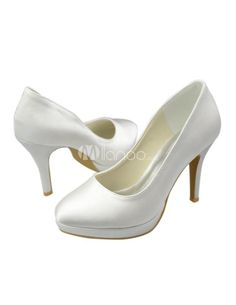 Concise Satin High Heel Brides Pumps. See More Bridal Shoes at http://www.ourgreatshop.com/Bridal-Shoes-C919.aspx