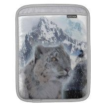 SNOW LEOPARD Endangered Species of Big Cat iPad Sleeves
