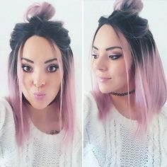 trendy mid-length hair colors New Hair Color Ideas Ombre Hair Color, Pastel Ombre Hair, Lilac Hair, Hair Color How To, How To Ombre Hair, Blue Hair, Pastel Hair Colors, Hair Color Ideas For Black Hair, Unique Hair Color