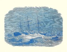 Nautical Print - Ship In a Storm Engraving - Vintage Boat Print - Blue Ship Book Print - Go Down To The Sea - 1970s    A great reproduced engraving from the 1800s. No artist is credited for this 1978 reprint. Reproduced in a soft, blue with enough room around the edges for possible framing.    The page measures 11 by 8 1/2 inches. The illustration measures 9 by 6 1/2 inches.    Book print is in great condition with very minor age toning.    The back has a smaller illustration.    You will…