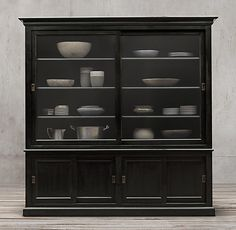 20th C. English Slider Glass 4-Door Sideboard & Hutch. Restoration Hardware. cool slider style and good wood, but too deep
