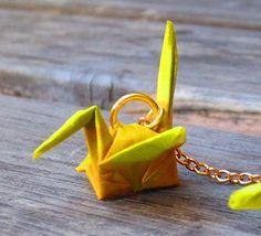 Handcrafted origami crane earrings yellow. $15.00, via Etsy.