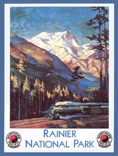 Ranier National Park Metal Sign Train and Railroad Decor Wall Accent * You can find more details by visiting the image link.