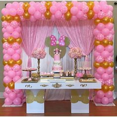 ideas birthday decorations pink mickey mouse for 2019 Minnie Mouse Birthday Decorations, Minnie Mouse Balloons, Minnie Mouse Theme Party, Minnie Mouse Baby Shower, Mickey Mouse Clubhouse Birthday, Girl Baby Shower Decorations, Minnie Birthday, 1st Birthday Parties, Baby Birthday