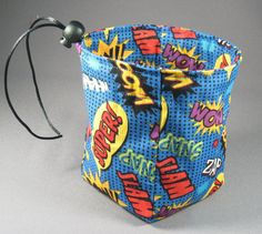 Blue Comic Book Words Small Dice Bag Pouch RPG by SavingThrowDice, $13.00