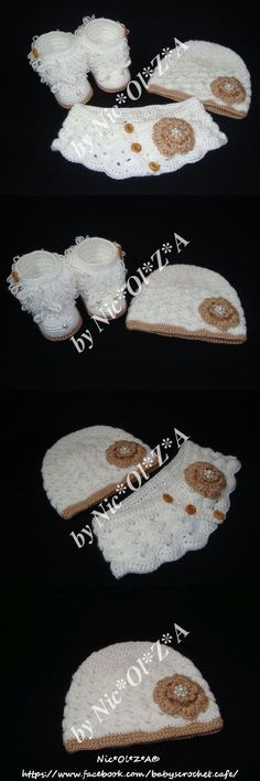Mixed Items and Lots 163402: Handmade Crochet Baby Girl Toddler Winter Set White Hat, Booties And Snood Scarf -> BUY IT NOW ONLY: $35 on eBay!