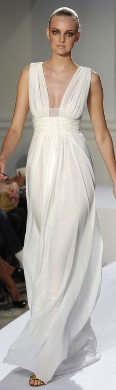 Oscar de la Renta white gown: white maxi dress @roressclothes closet ideas #women fashion outfit #clothing style apparel