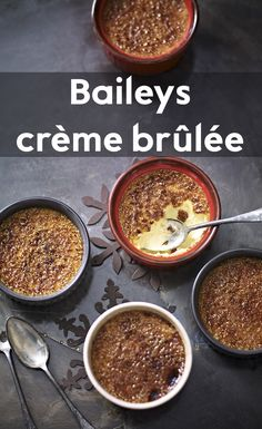 Add a splash of indulgence (or Baileys in this instance) to your festive puddings this season with our Waitrose Baileys Creme Brulee recipe! Gourmet Desserts, Just Desserts, Dessert Recipes, Cake Recipes, Cold Desserts, Italian Desserts, Plated Desserts, Cream Brulee, Baileys Recipes