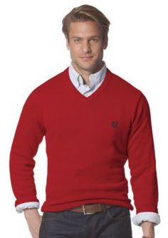 Chaps  OCT LTO CAPUTO SOLID V-NECK SWEATER-CHAPSRED