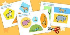 Safari Themed Cutting Skills Worksheet