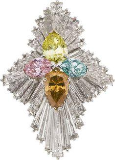 Colored Diamond and Platinum Ring