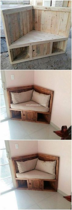 How adorably this corner seat designing has been style up for your house all through the finest use of the pallet into it. This seat project looks so pleasant and can come up to be the lounge area of room as well. This does comprise the simple and easy to build settlement.