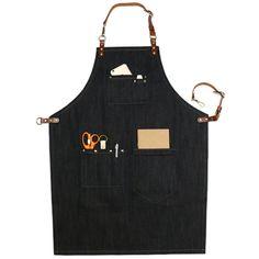 Unisex Black Denim Bib Apron with Adjustable Genuine Leather Straps and Convenient Pockets. Suitable for Uniforms of Barber,Barista,Bartender,Baker,Chef,Stylist,Hairdresser,Waiter/Waitress,Florist,Painter,Gardener, Carpenter,Woodworker or Work wear of Salon,Bakery,Cafe,Restaurant,Hotel,Bistro,Tattoo shop,Craft workshop etc.