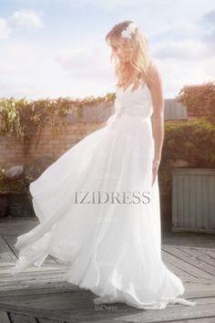 A-Line/Princess Straps Sweep/Brush Train Chiffon wedding dress - IZIDRESSES.com at IZIDRESSES.com