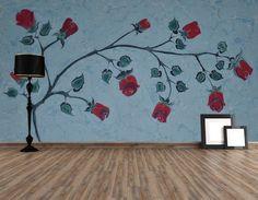 Güller ebru sanatı - çiçekli duvar kağıdı