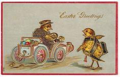 Antique Easter Postcard Dressed Humanized Chicks c1909 DB Emb Gold Gilt | eBay