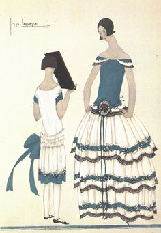 ¤ Jeanne Lanvin with her daughter. fashion illustration
