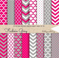 Free Digital Paper.  Fuchsia pink (perfect for upcoming Valentines Day!) and gray in chevron, quatrefoil, moroccan, and polka dots for using as backgrounds for websites, cards, invites, valentines day cards, printables, the possibilities are endless!  These are APPROVED for small business use, within your own product/designs for sale in quantities less than 50.  To use in quantities more than 50, simply purchase our Extended Usage Listing from our shop, which you can find HERE.