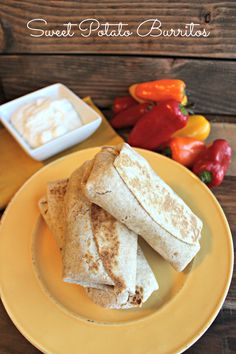 Sweet Potato Burritos. Stuffed with sweet potatoes, brown rice, sweet bell peppers, black beans, corn, salsa, and taco seasoning. Flavorful and healthy!