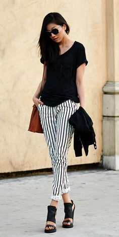 Striped black and white pants | Via http://www.danceinmycloset.com