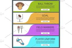 American football banner templates set Graphics American football banner templates set. Ball throw, goal, field markers, player's shoe. Website menu by Icons Factory