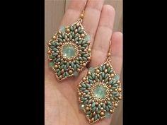 DIY - tutorial Orecchini Rosone e anello con rivoli 14 mm Seed Bead Earrings, Beaded Earrings, Beaded Jewelry, Earring Tutorial, Diy Tutorial, Twin Beads, Fairy Jewelry, Jewelry Making Tutorials, How To Make Earrings