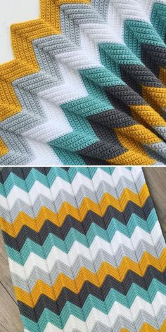 When going for stripy chevron, it's good to find out what color story you are going to tell, first. Kerry chose two main colors – vibrant mustardy yellow and deep minty green, and divided them with neutrals – two shades of grey and white. Chevron Crochet Blanket Pattern, Crochet Ripple Blanket, Crochet Quilt, Afghan Crochet Patterns, Chevron Afghan, Crochet Crafts, Crochet Projects, Crochet Toys, Knitted Blankets